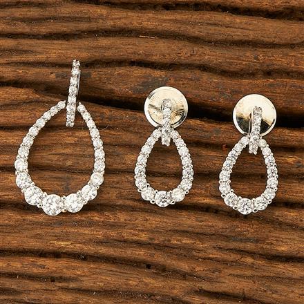 76385 Cz Delicate Pendant set with rhodium plating