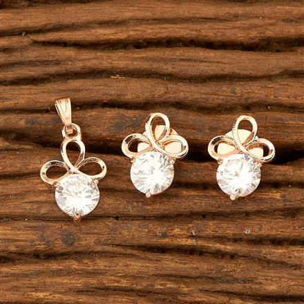 76397 Cz Delicate Pendant set with rose gold plating