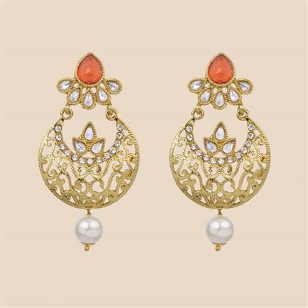 8018 Indo Western Chand Earring with mehndi plating