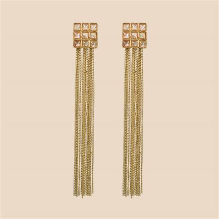 8056 Indo Western Long Earring with mehndi plating