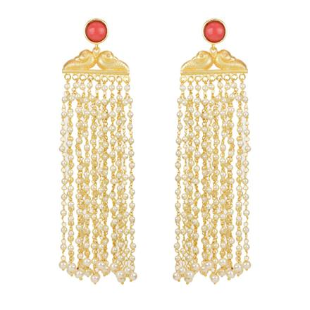 8077 Indo Western Long Earring with gold plating