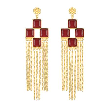 8083 Indo Western Long Earring with gold plating