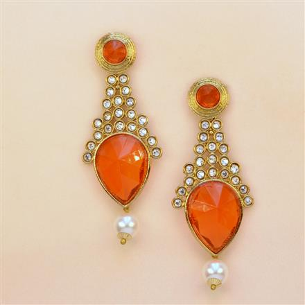 8084 Indo Western Long Earring with mehndi plating