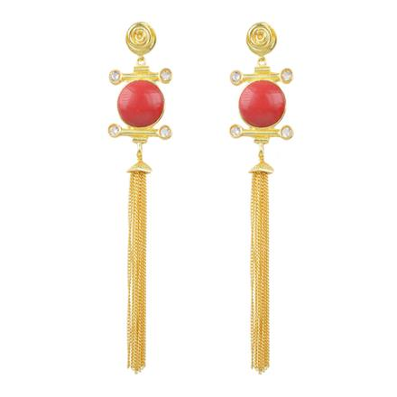 8092 Indo Western Long Earring with gold plating