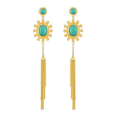 8119 Indo Western Long Earring with gold plating