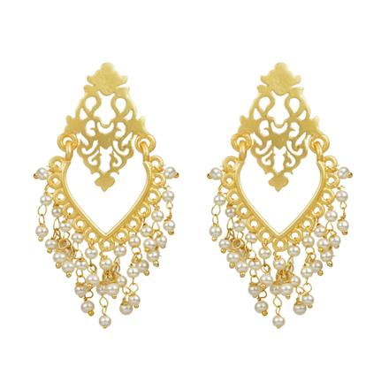 8141 Indo Western Plain Gold Earring with gold plating