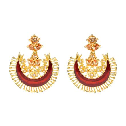 8144 Indo Western Chand Earring with gold plating