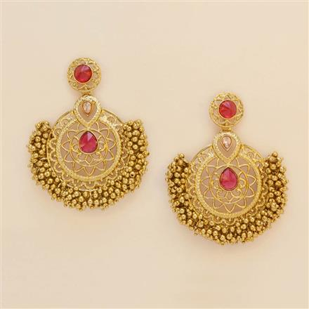 8182 Indo Western Chand Earring with mehndi plating