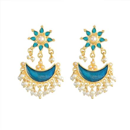 8187 Indo Western Chand Earring with gold plating