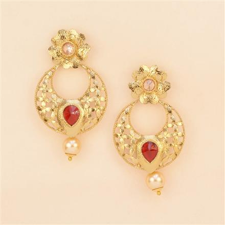 8237 Indo Western Short Earring with mehndi plating