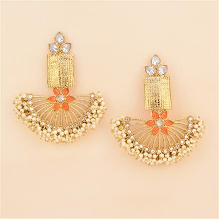 8239 Indo Western Chand Earring with mehndi plating
