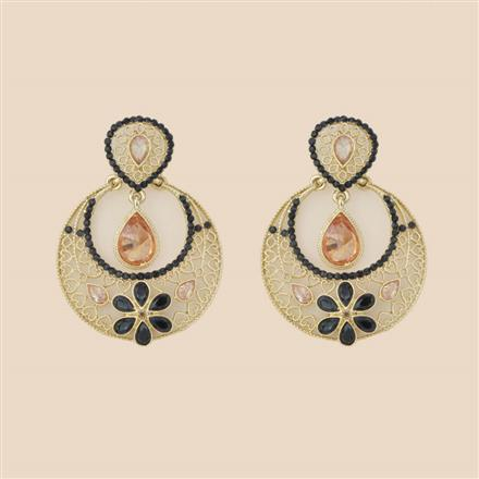 8278 Indo Western Chand Earring with mehndi plating