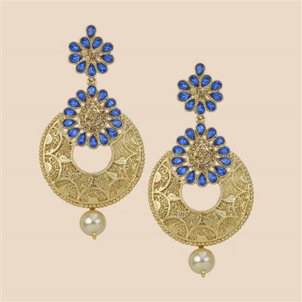 8281 Indo Western Long Earring with mehndi plating