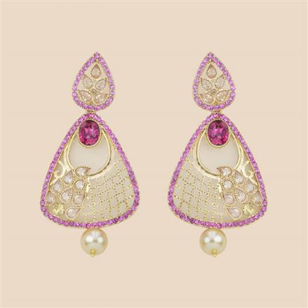 8287 Indo Western Long Earring with mehndi plating