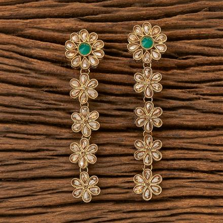 8306 Indo Western Long Earring with Mehndi plating