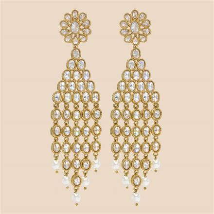 8328 Indo Western Long Earring with mehndi plating