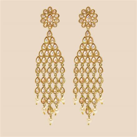 8333 Indo Western Long Earring with mehndi plating