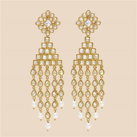 8415 Indo Western Long Earring with mehndi plating