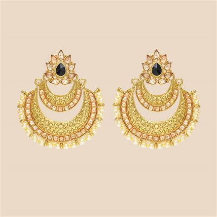 8432 Indo Western Chand Earring with mehndi plating