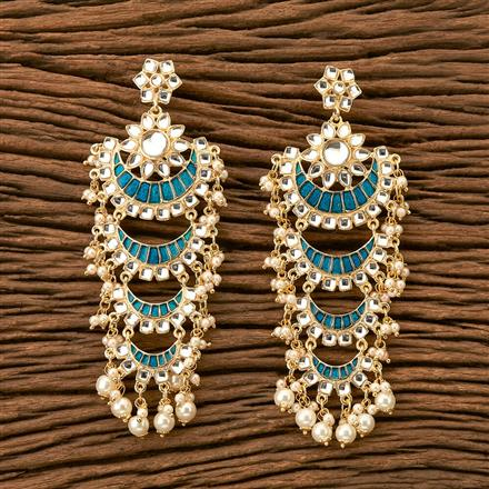 9730 Indo Western Long Earring with gold plating