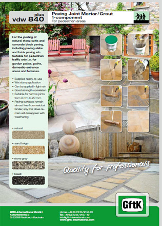Paving Joint Mortar / Grout 1-component Brochure