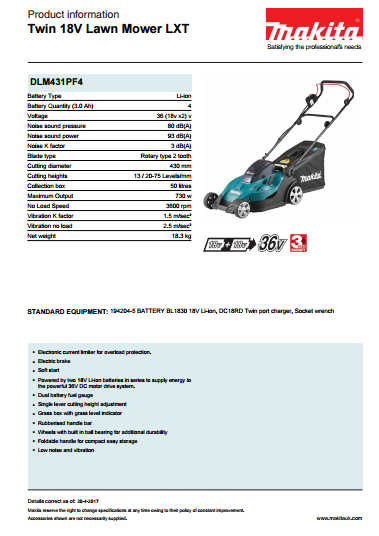 Twin 18V Lawn Mower LXT Brochure