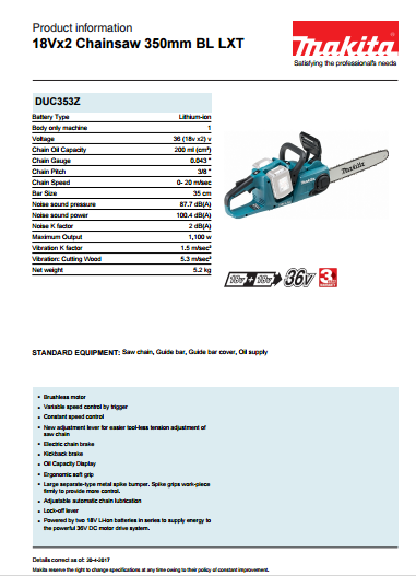 18Vx2 Chainsaw 350mm BL LXT Brochure