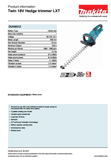 Twin 18V Hedge trimmer LXT Brochure