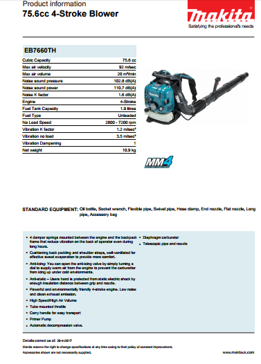 75.6cc 4-Stroke Blower Brochure