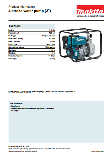 4-stroke water pump  Brochure