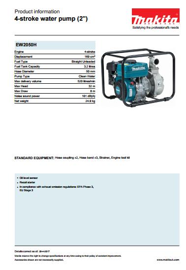 4-stroke water pump  Brochure
