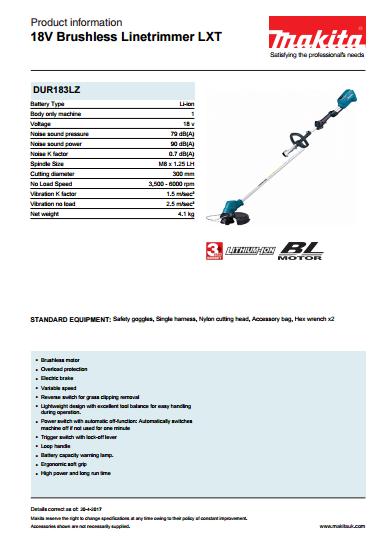 18V Brushless Linetrimmer LXT Brochure