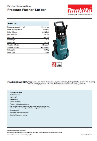 Pressure Washer 130 bar Brochure
