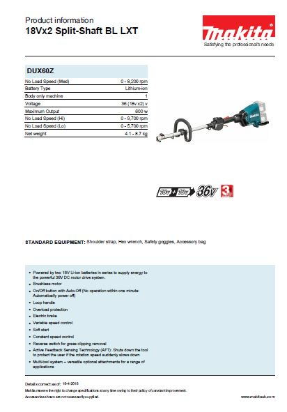 18Vx2 Split-Shaft BL LXT Brochure