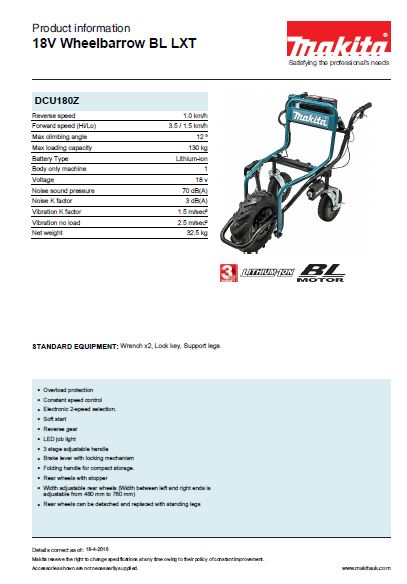 18V Wheelbarrow BL LXT Brochure