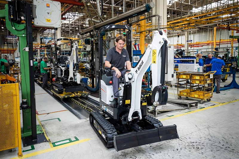First Bobcat electric excavator off production line