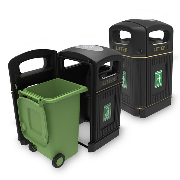 High capacity litter bin with traditional style
