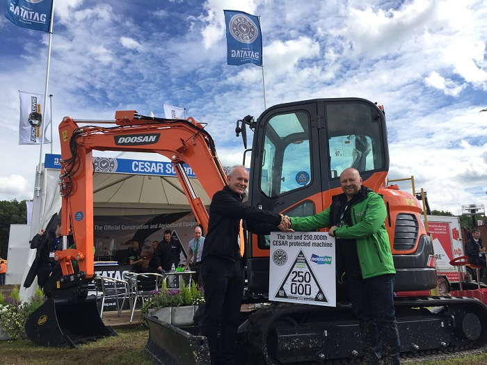 Doosan excavator is 250,000th CESAR machine in UK