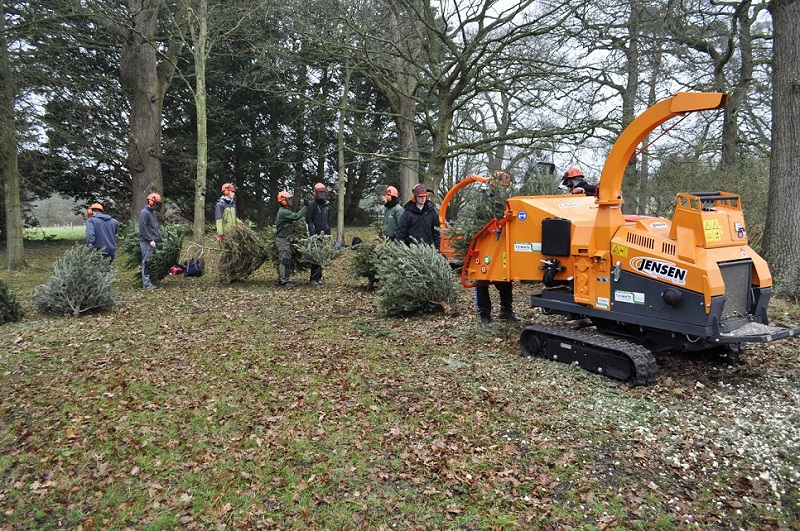 Jensen Chippers used for charity Christmas tree recycling scheme