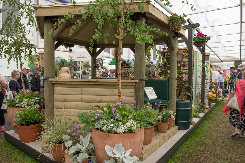Luxury gazebo and pergola feature at RHS Chelsea Flower Show