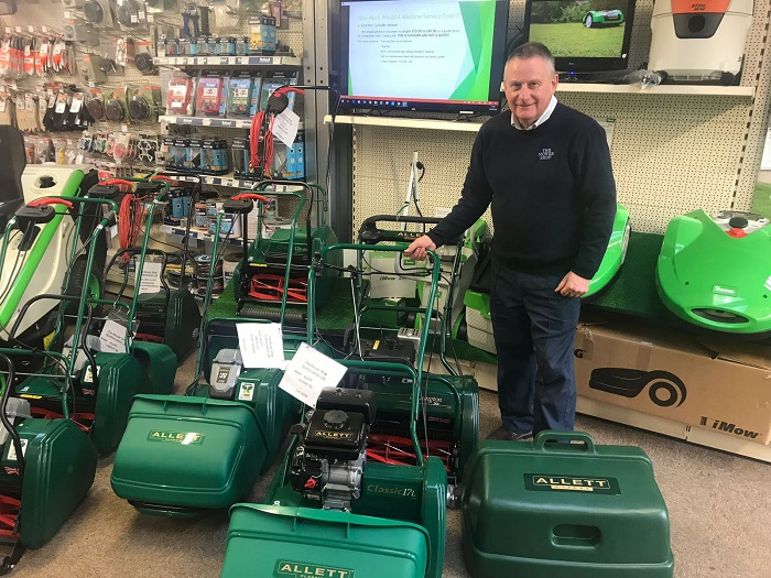 Allett at The Mower Shop, and batteries are included