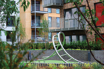 Rooftop garden play area created by Russell Play