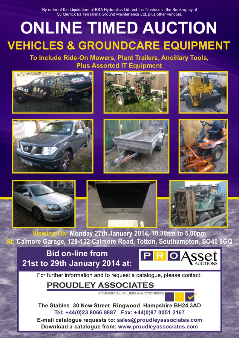ONLINE AUCTION OF VEHICLES AND GROUNDCARE EQUIPMENT