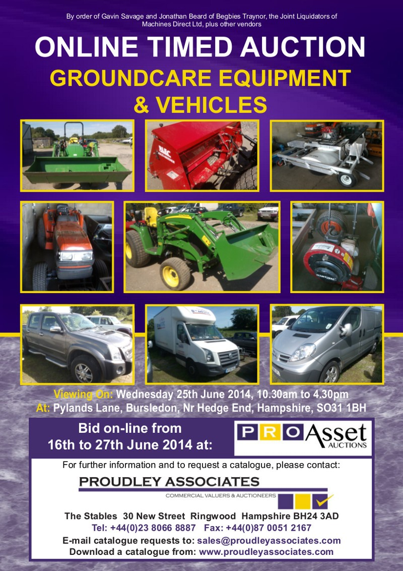 ONLINE AUCTION OF GROUNDCARE EQUIPMENT AND VEHICLES