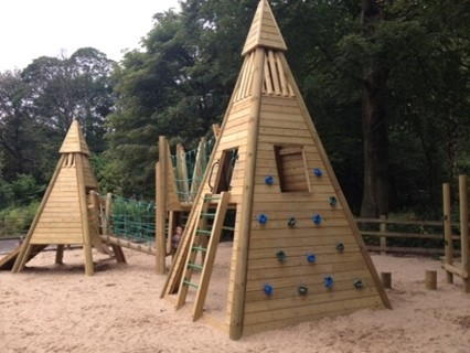 Launch of new timber pyramid play towers by SJ Danby Playscheme