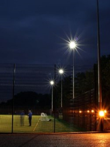 All-weather pitch LED floodlighting using AAA-LUX