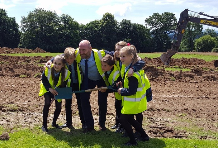 Lawrence Dallaglio cuts first turf at Warden Park Academy