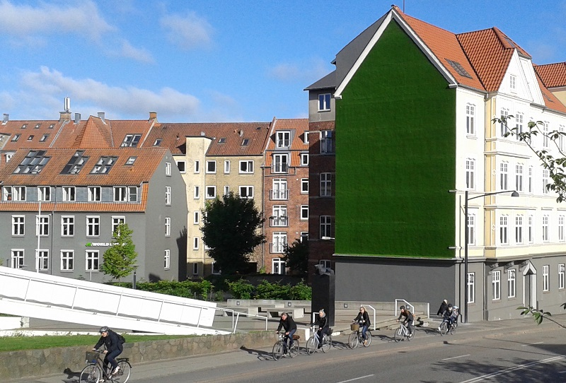 Gravity-defying wall of living grass appears in Denmark