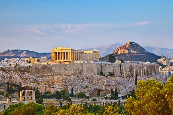 Blick vom Philopappos-Hügel auf die Akropolis