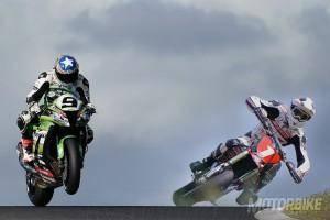 Supermotard vs. Superbike. Kenny Noyes vs. Sylvain Bidart